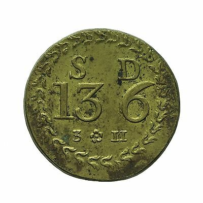 English Brass Coin Weight For Portuguese Half Moidore  S13 D6  3 11