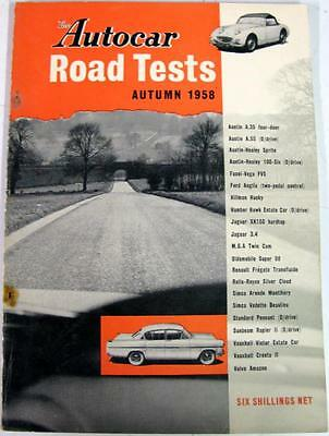 Autocar Road Tests Autumn 1958 AUSTIN, AUSTIN-HEALEY, JAGUAR, SIMCA, SIMCA etc