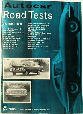 Autocar Road Tests Autumn 1965 FORD, JAGUAR, LANCIA, MERCEDES-BENZ etc