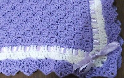 Christening  Baby Blanket Lavender / white trim afghan Newborn Nursery throws