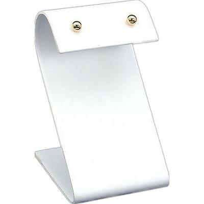 "White Faux Leather Jewelry Display ""S"" Earring Stand"