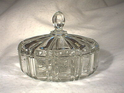 Vintage Anchor Hocking Old Cafe Clear Glass Covered Candy Dish With Lid