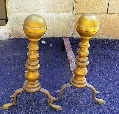 American Antique 1800s  Brass Cannon Ball Andirons PAIR