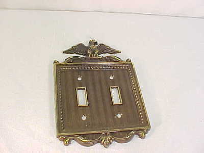 Great Vintage Bronze Brass eagle Double Wall Switch Plate