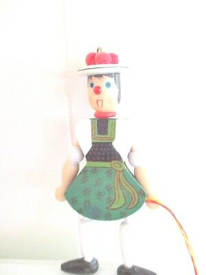 Vintage Christmas Ornament Wooden Pull String Puppet Germany