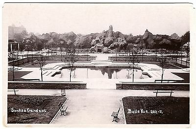 Real Photo Postcard Pool-Sunken Gardens-Belle Vue Zoological Gardens-Manchester