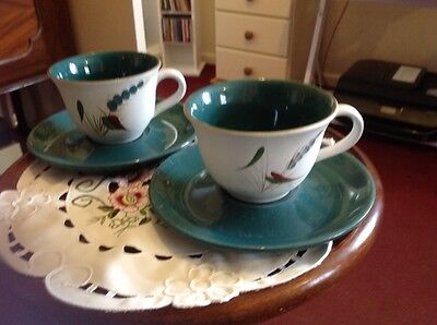 Denby Greenwheat 2 Cups And Saucers