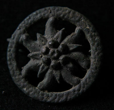 Roman Bronze Disc Fibula,Brooch with Edelweiss  200-300 AD