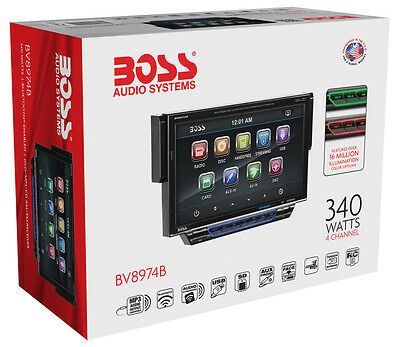 "Boss BV8974B Single-DIN Bluetooth CD/DVD/MP3 Stereo w/ 7"" Drop Down LCD Screen"