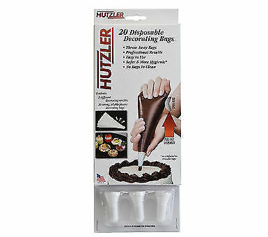 Hutzler Disposable Bags for Cake Decoration incl. 3 Nozzles - Box of 20