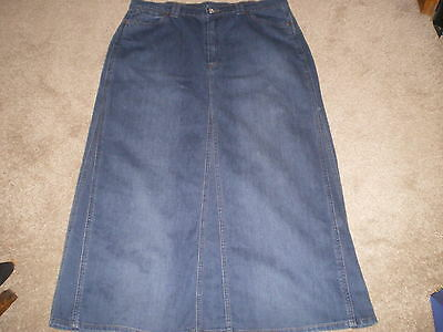 Ladies Long Denim Skirt With Stretch Size 18 M&s