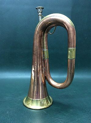 Antique Brass with Copper Dovetailed Military Signal Bugle Trumpet