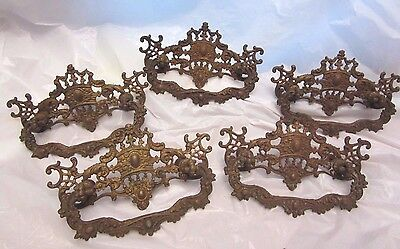 Vintage Antique Lot of 5 Brass Ornate Drawer Handle Pulls Pull 4 3/4 inch wide