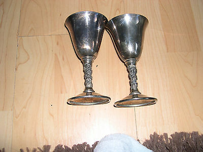 A Pair of Falstaff Made In Spain Silver Plated Goblets