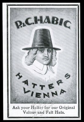 1922 P&C Habig men's hats Vienna vintage print ad