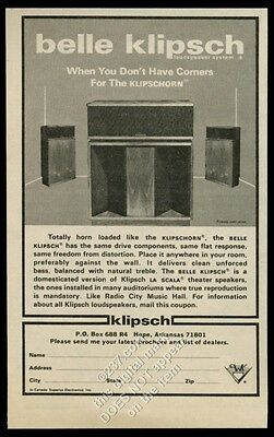 1979 Belle Klipsch and Klipschorn stereo speakers photo vintage print ad