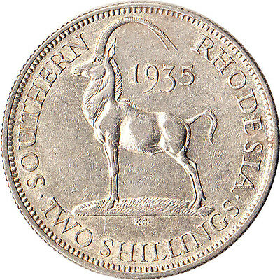 1935 Southern Rhodesia (British) 2 Shillings Silver Coin KM#4 Mintage 365,000