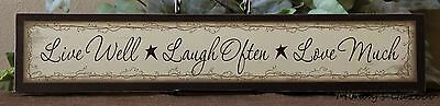 Primitive Country Wood Live Laugh Love Block Sign Handmade Home Wall Decor 0241