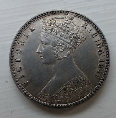 1849 Victoria Godless Florin Much Eye Appeal And Some Lustre