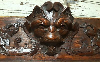 PEDIMENT GRIFFIN LION ANTIQUE FRENCH CARVED WOOD SCULPTURE PANEL 19 th 45.75 in