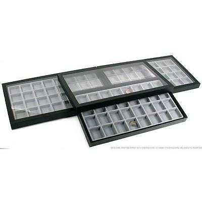 96 Slot Jewelry Coin Display Acrylic Lid Travel Case