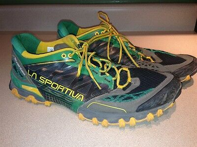 La Sportiva Bushido Shoes Green Yellow Gray Men's EUR 44.5 US 11 Running Jogging