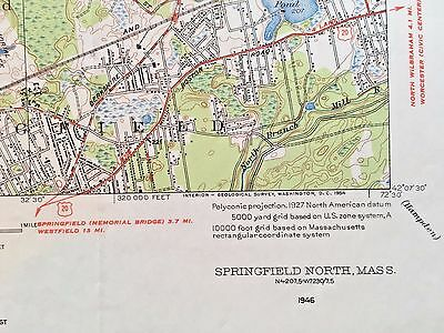 SPRINGFIELD MA TOPOGRAPHICAL MAP c1950 Connecticut River Memorial Golf Course