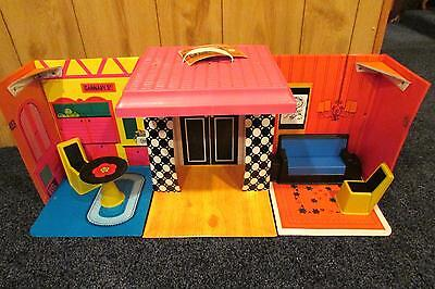 Vintage 1968 BARBIE Doll FAMILY HOUSE with Mod Furniture and Hang Tag L@@K