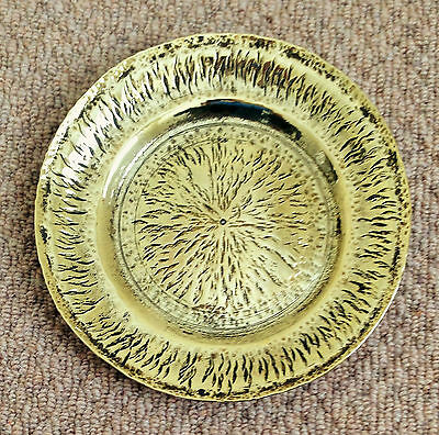 "A 7.75"" WIDE x 0.75"" DEEP, STURDY WELL-PATTERNED, CIRCULAR BRASS PLATE/DISH"