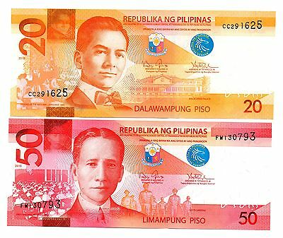 PHILIPPINES 20 and 50 Piso  -  A  Set of 2 Crisp UNC Banknotes