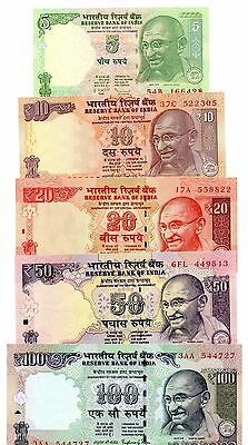 INDIA  5 / 10 / 20 / 50 and 100 Rupees - Set of 5 Crisp UNC  Banknotes