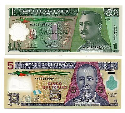 GUATEMALA 1 and 5 Quetzal  - A Set of 2 Crisp UNC Polymer Banknotes