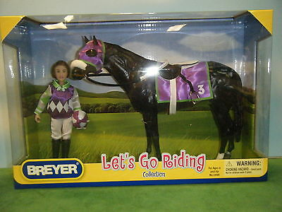 Breyer Lets Go Riding Traditional Black Racing Horse, Rider & Tack *new*