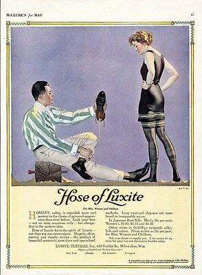 COLES PHILLIPS Hose of Luxite Stockings Ad 1920 Bathing Beauty on Beach with Man