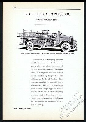 1930 Boyer REO fire engine truck illustrated vintage trade print ad