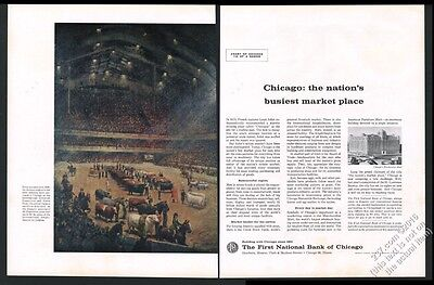 1960 International Livestock cow show First National Bank of Chicago print ad