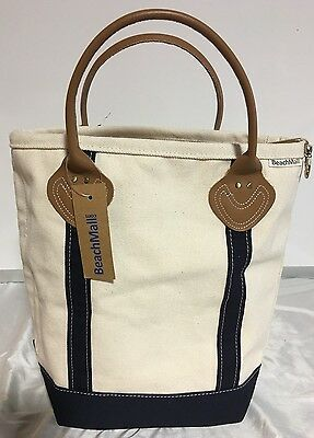 Beach Mall Canvas Boat Tote Bag Leather Handles Natural and Navy
