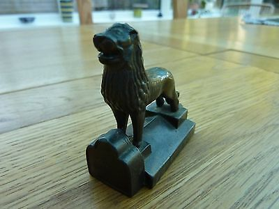 Vintage Solid Metal Stylised Lion On Plinth 2 X 2 Inch