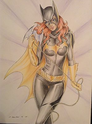 BATGIRL Original Art - Comic Sexy Pinup DC Batman Cartoon Erotic Fantasy Female