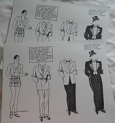 Clark Gable paper doll 3 outfits repro Jane Arden comics 1938 Tim Southern art