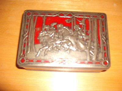 Rare Vintage RILEYS TOFFEE TIN Halifax Embossed Silver Falconry Horse Medieval