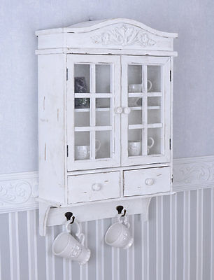 Vintage Wall Cupboard White Wardrobe Shabby Chic Hanging Display Cabinet