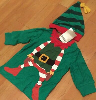Boys Christmas NEXT 100% COTTON long sleeved Elf Green top And Hat  6-9 MONTHS