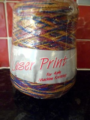 MACHINE KNITTING WOOL 4 PLY 400g CONE MULTI COLOUR LASER PRINT NEW