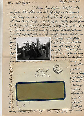 German Ww2 Soldiers Letter 23 Sept 1942+Photo -On Board Ship