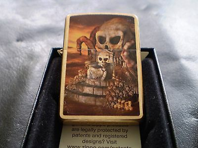 A Solid Brass Zippo With A Scull Throne / Mint In Box