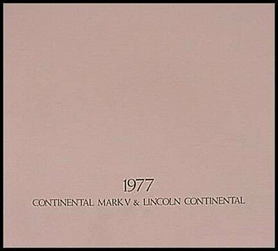 1977 Lincoln Continental, Mark V Dlx. Brochure Xlnt