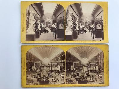 2 Early Stereoviews 1862 International Exhibition The Nave & Picture Gallery