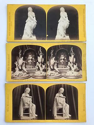 3 Early Stereoviews 1862 International Exhibition Carvings Reading Girl Ophella