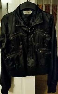 Girl's / ladiy's satin black short jacket size 10